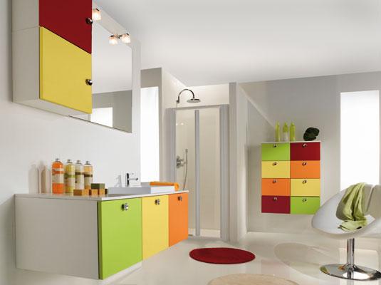 meuble salle de bain couleur vive