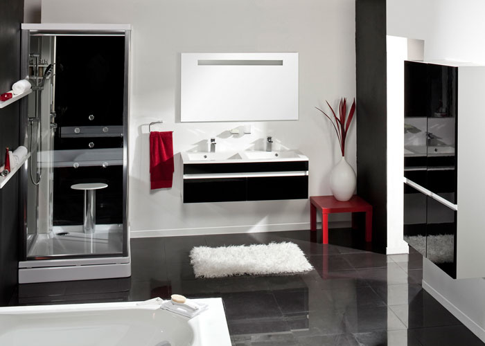 salle de bain noir et blanc salle de bain design gris et. Black Bedroom Furniture Sets. Home Design Ideas