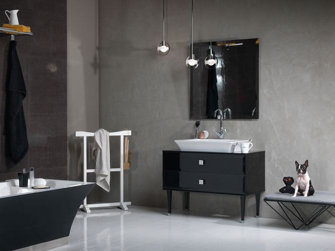 une salle de bains vintage inspiration bain. Black Bedroom Furniture Sets. Home Design Ideas