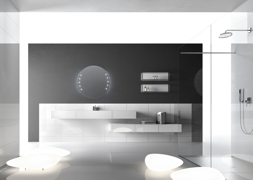 Wall d'Artelinea, meubles de salle de bains, salle de bains blanche