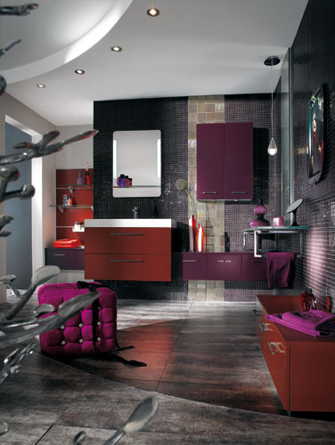 des touches de couleur dans la salle de bains. Black Bedroom Furniture Sets. Home Design Ideas