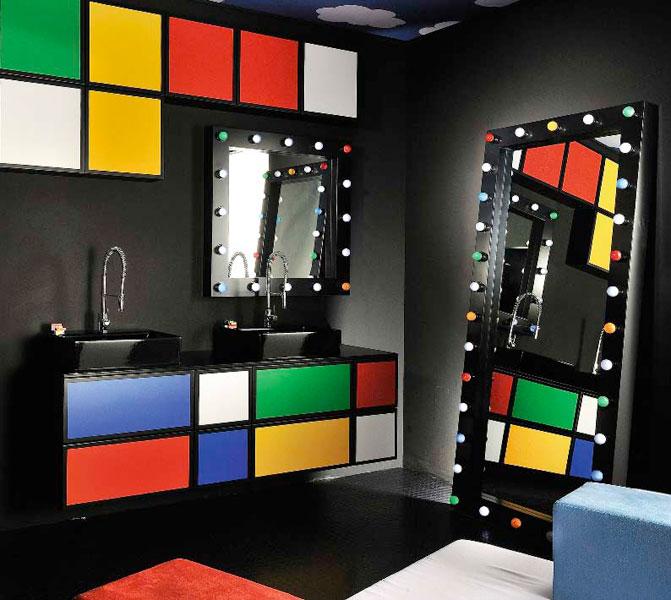 Miroir de salle de bains o mon beau miroir for Miroir salle de bain cadre noir