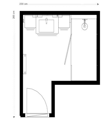 Plan Salle de bains rouge et blanche