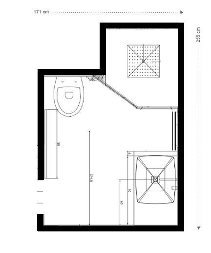 Plan Salle de bains noire et blanche