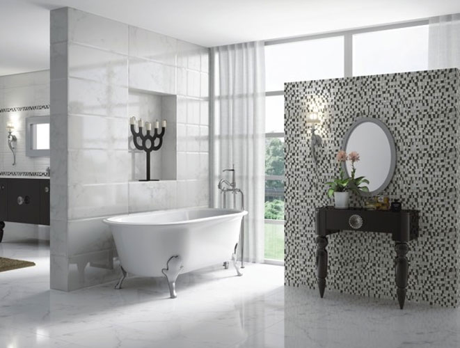 le carrelage dans la salle de bains inspiration bain. Black Bedroom Furniture Sets. Home Design Ideas
