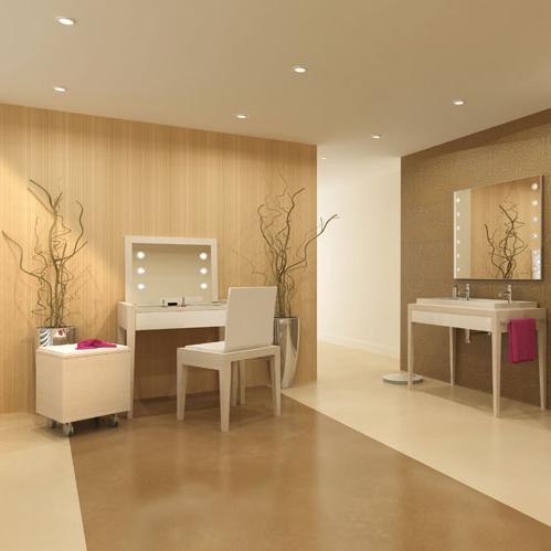 une coiffeuse de star dans sa salle de bains inspiration bain. Black Bedroom Furniture Sets. Home Design Ideas