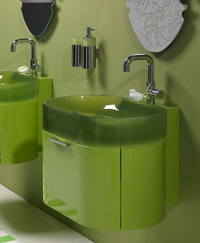 Un petit meuble color pour une salle de bains vitamin e for Meuble salle de bain colore