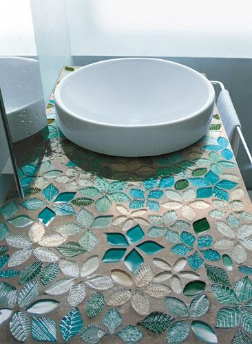 plan de toilette en mosaïque de pate de verre