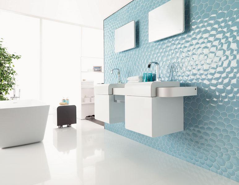 Gamme Zaphire de  Porcelanosa-salle de bains bleue