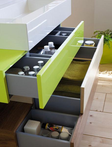 Quel meuble de rangement pour la salle de bains - Meuble salle de bain tiroir coulissant ...
