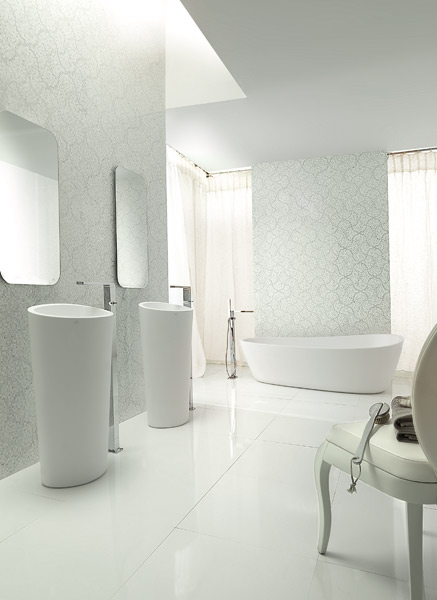 Vasques et baignoire Almond en Krion® Stone de Porcelanosa, Porcelanosa, Krion