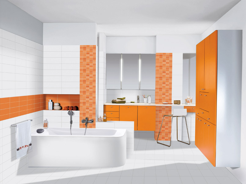 inspiration salle de bain orange. Black Bedroom Furniture Sets. Home Design Ideas