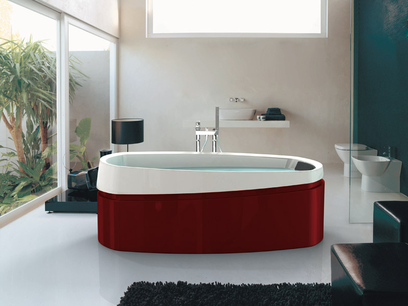 inspiration une salle de bains rouge inspiration bain. Black Bedroom Furniture Sets. Home Design Ideas