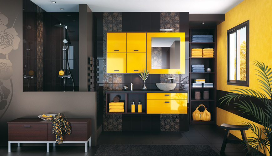 inspiration une salle de bains jaune inspiration bain. Black Bedroom Furniture Sets. Home Design Ideas