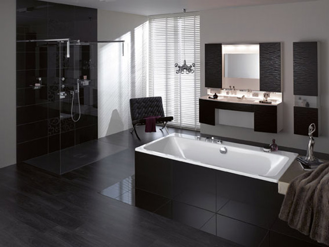 inspiration une salle de bains noire inspiration bain. Black Bedroom Furniture Sets. Home Design Ideas