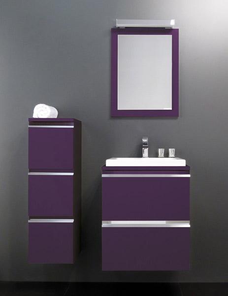 Home la salle de bains volutive de bloc miroir inspiration bain - Meuble de salle de bain aubergine ...