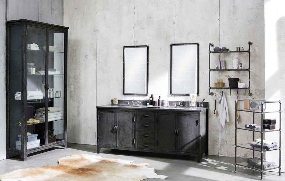 miroir salle de bain industriel. Black Bedroom Furniture Sets. Home Design Ideas