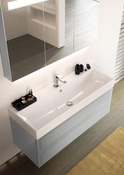 Craquez pour le gris dans la salle de bains inspiration bain - Meuble salle de bain decotec ...