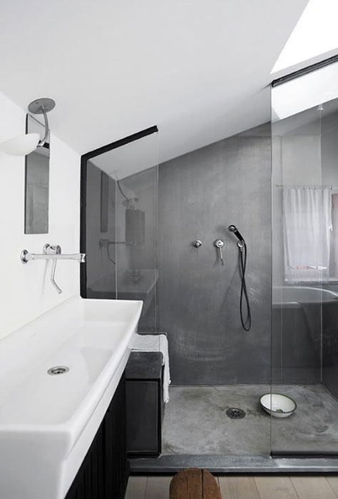 Douche à l'italienne. Source Regardsetmaisons.blogspot.fr