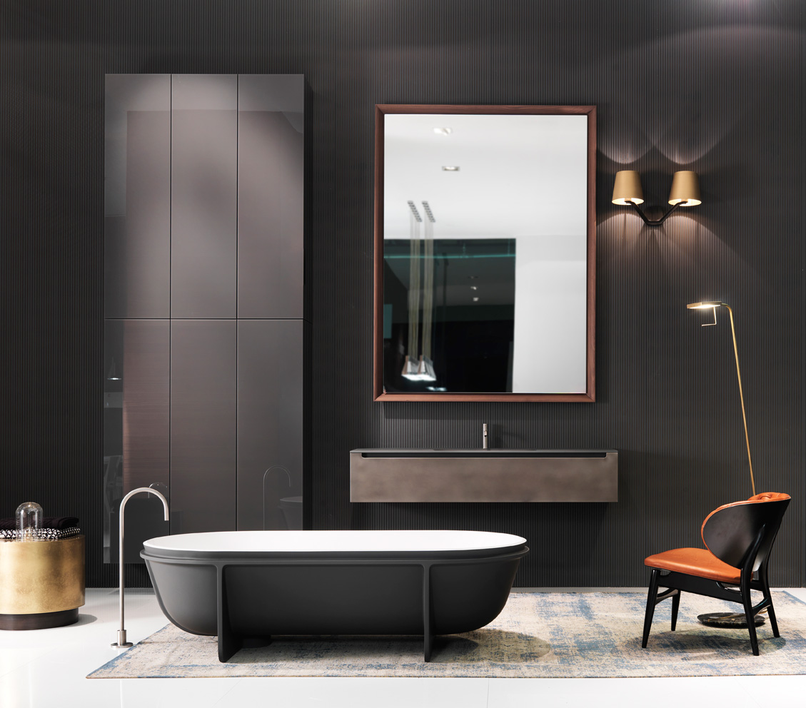 salle de bain orange et gris. Black Bedroom Furniture Sets. Home Design Ideas