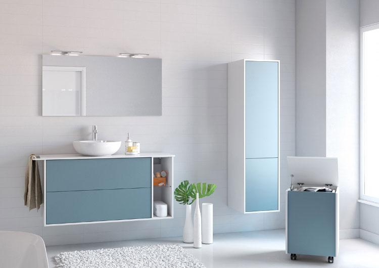 Le bleu dans la salle de bains inspiration bain for Meuble salle de bain bleu