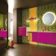 Meubles de salle de bains hauts en couleur