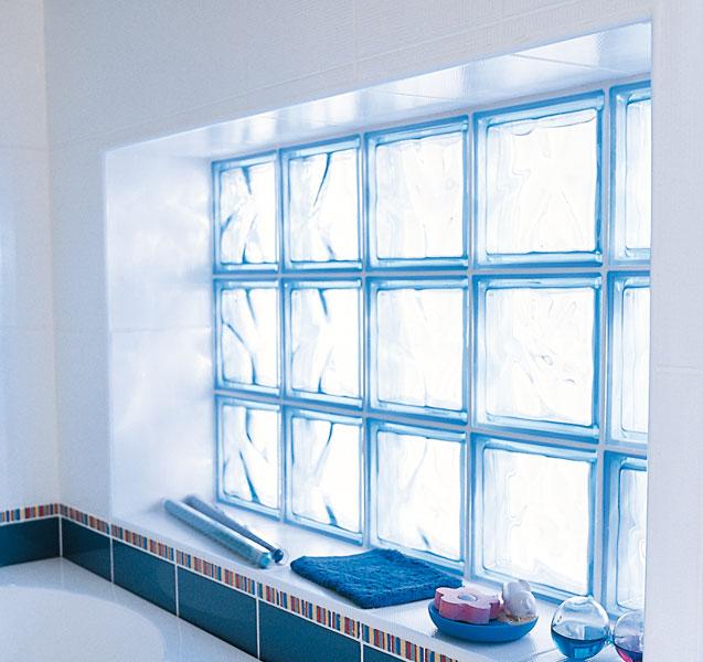 Brique Marena de Lapeyre, brique de verre, verre dans la salle de bains