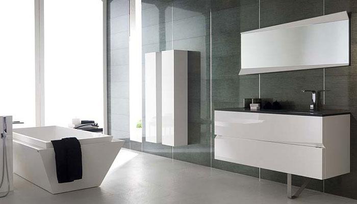Origami de Porcelanosa, meubles de salle de bains, salle de bains blanche