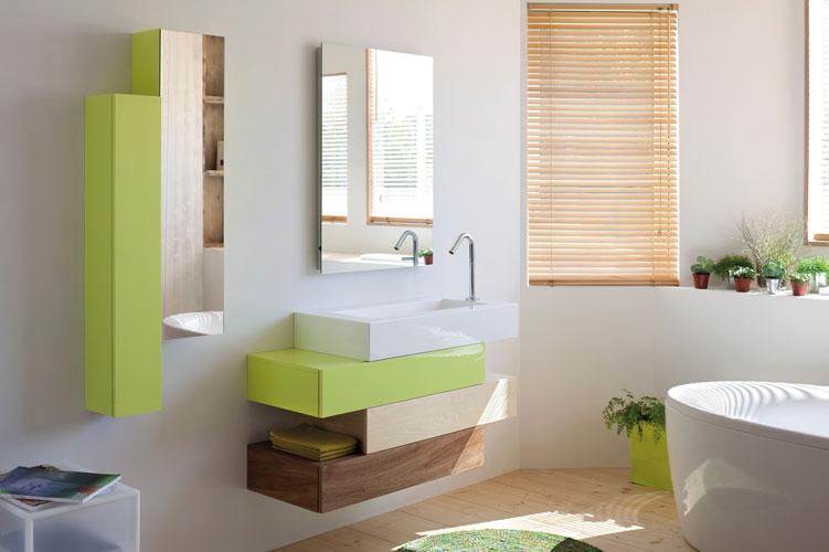 Pacific de Sanijura, meubles de salle de bains, salle de bains de couleur