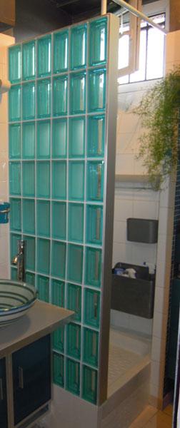 Rouviere, brique de verre, verre dans la salle de bains