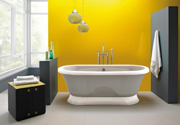 Salle de bains jaune : Jacuzzi